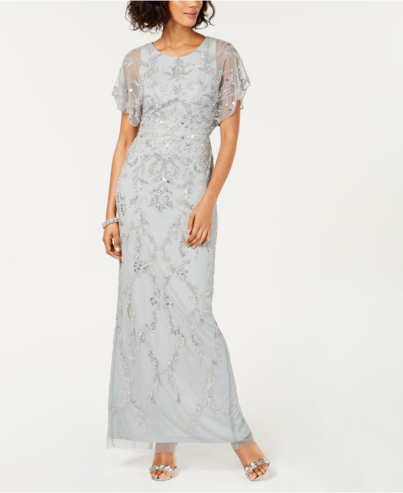 0647816397103 Adrianna Papell. Women s Petite Embellished Short-sleeve Gown