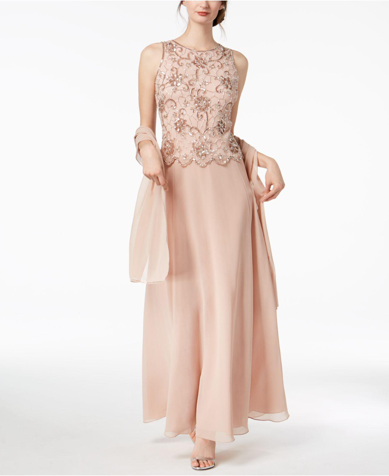 Lyst - J Kara Sleeveless Beaded Gown & Evening Scarf in Pink
