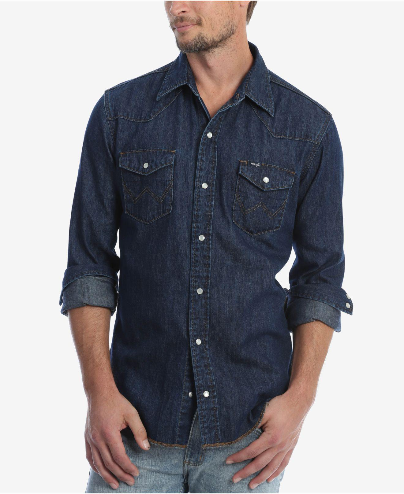 3e025658 Lyst - Wrangler Authentic Western Long Sleeve Shirt in Blue for Men