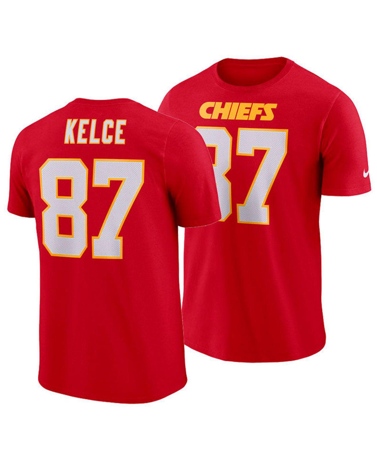 3f4c969d7 Nike. Men s Red Travis Kelce Kansas City Chiefs Pride Name And Number  Wordmark T-shirt