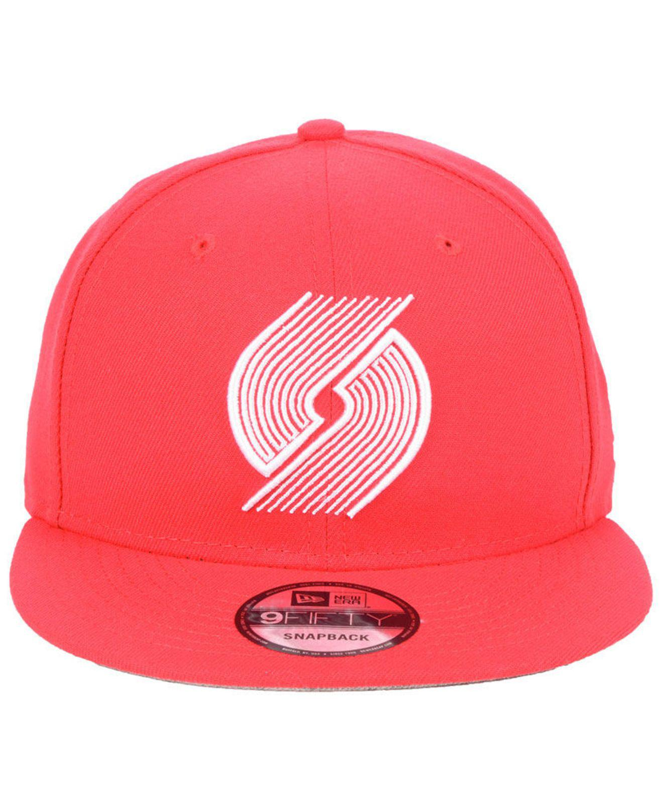 new product 9d80f befde ... coupon lyst ktz portland trail blazers logo trace 9fifty snapback cap  in red for men d9677