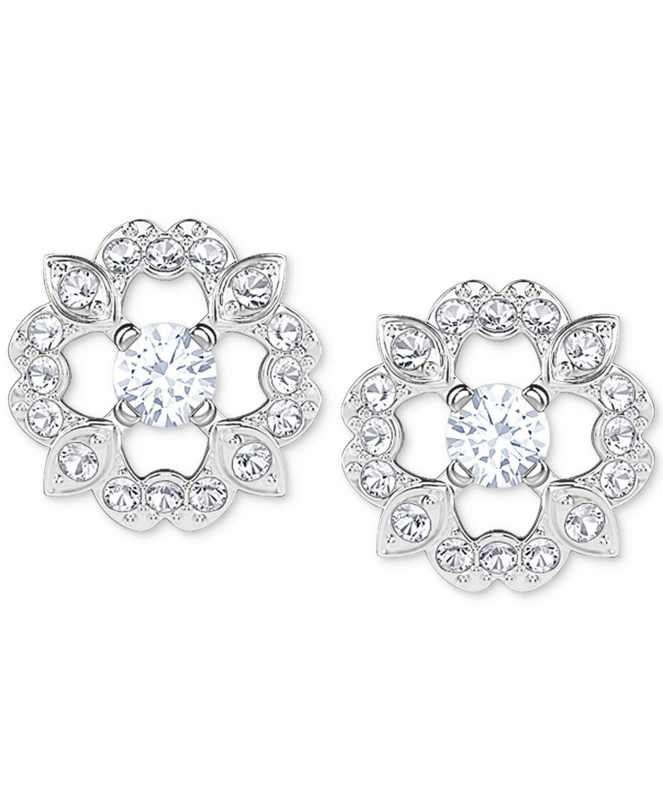 Swarovski Women S Metallic Silver Tone Crystal Flower Stud Earrings
