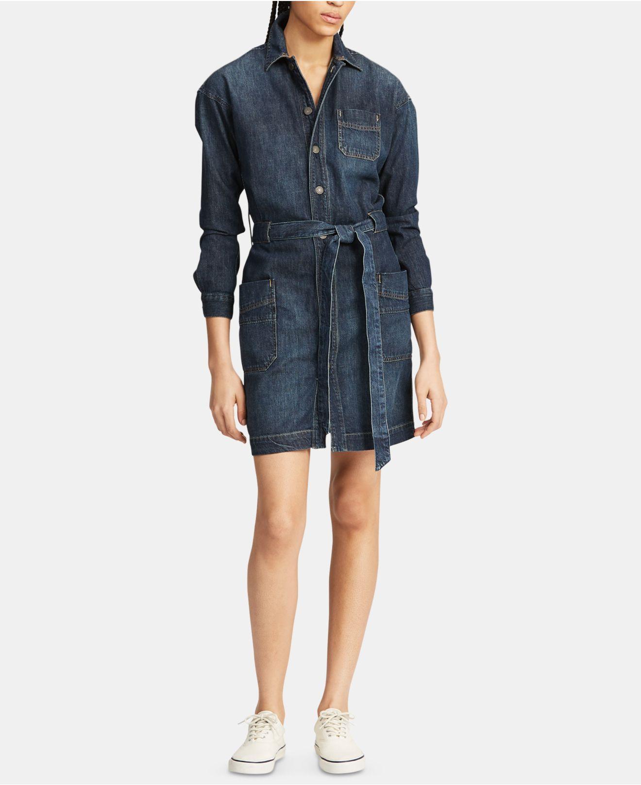 7f1bb7869c6 Lyst - Polo Ralph Lauren Denim Cotton Shirtdress in Blue - Save 14%