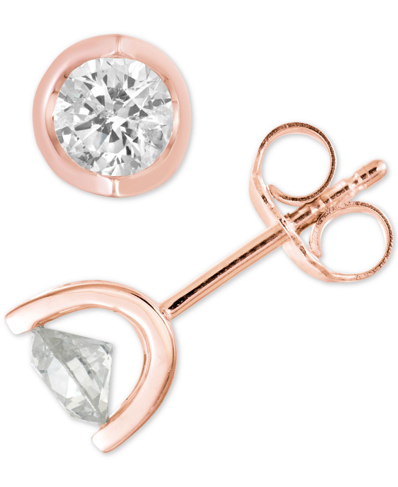 52d59a615ff Macy s. Women s Metallic Diamond Tension Stud Earrings (1 2 Ct. T.w.) In 14k  White