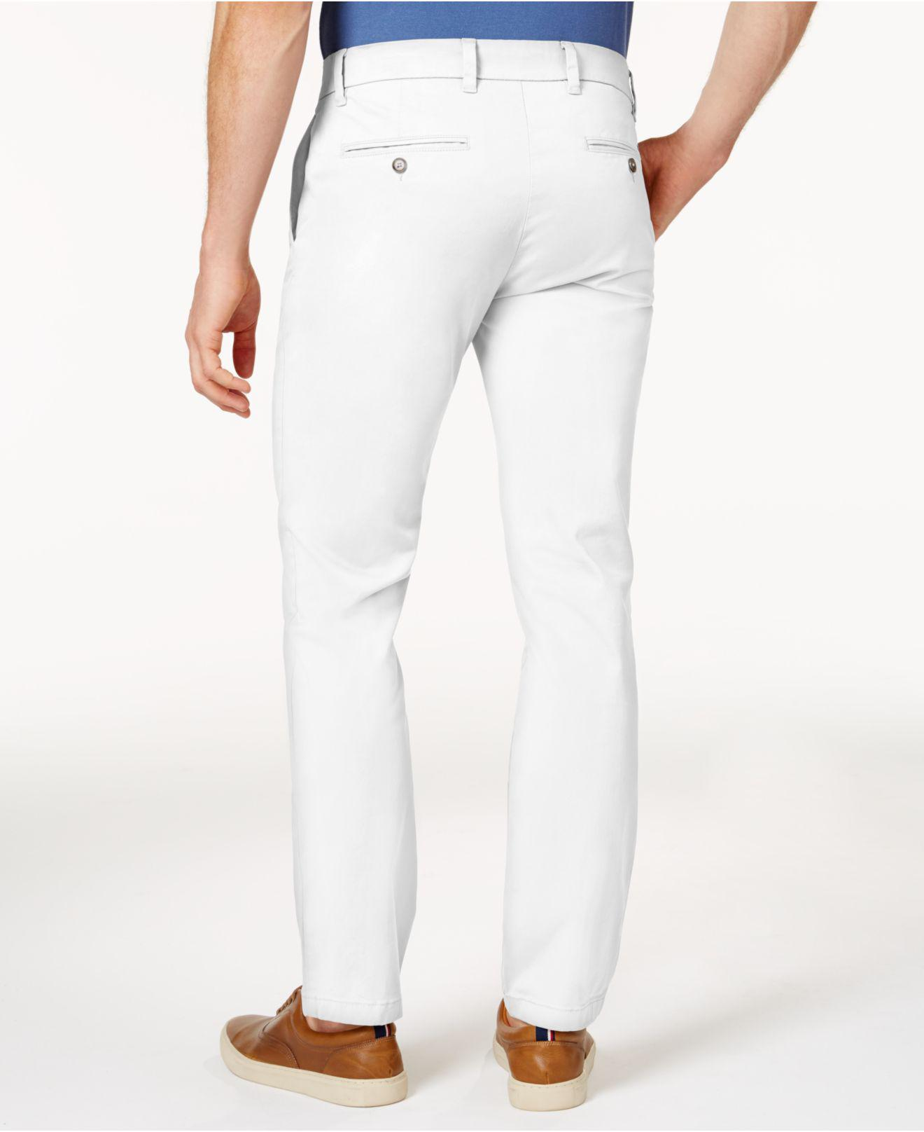 1eadb50cea Tommy Hilfiger Slim-fit Stretch Chino Pants in White for Men - Lyst