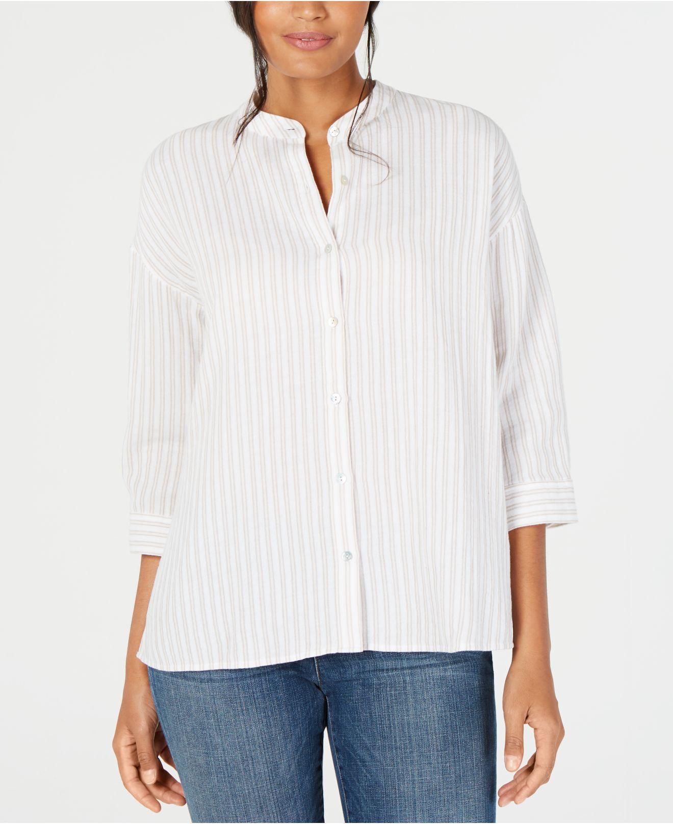 bdc407e8149 Lyst - Eileen Fisher Organic Cotton Shirt, Regular & Petite in White