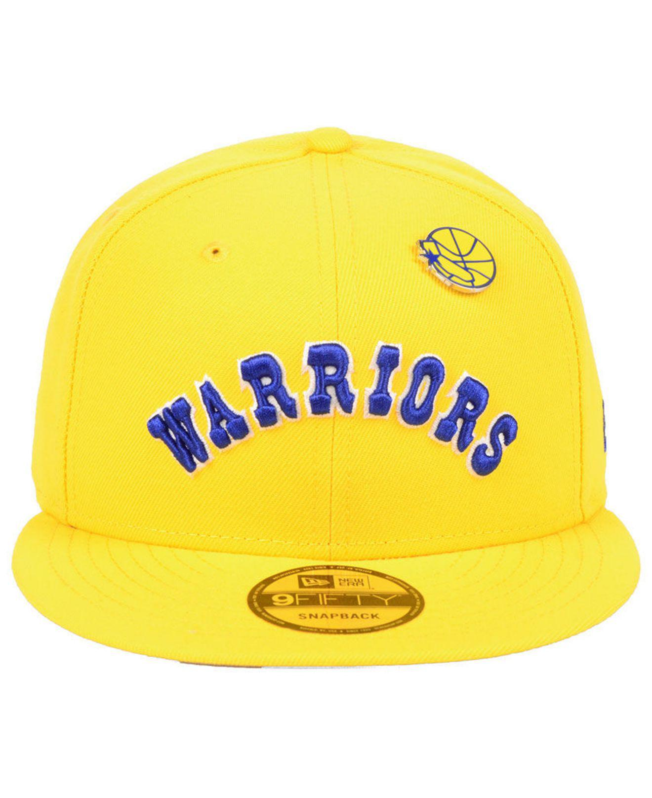 e0e5f4a618dde ... czech lyst ktz golden state warriors hardwood classic nights pin 9fifty  snapback cap in yellow for