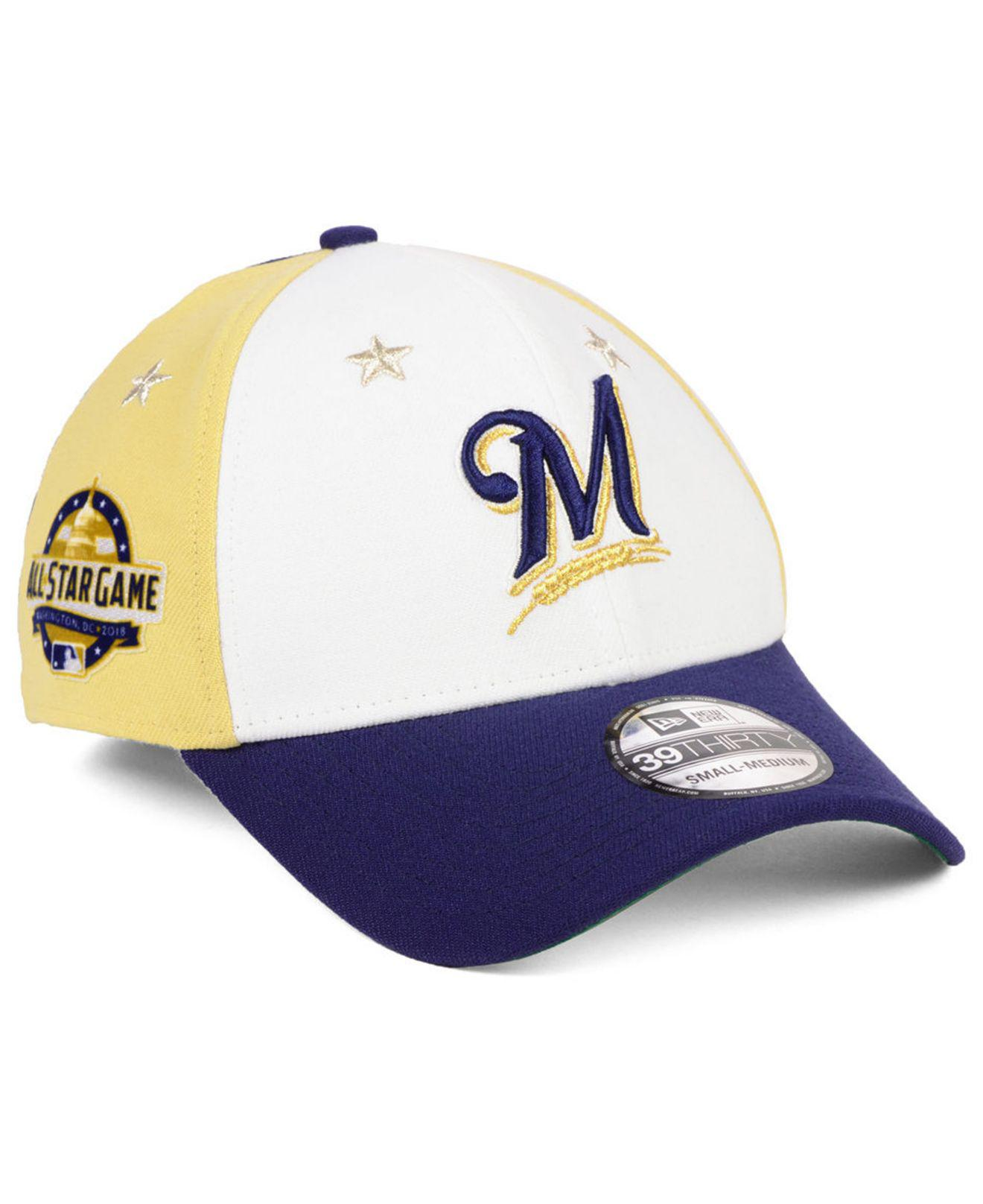 896a510ead8 KTZ. Men s Blue Milwaukee Brewers All Star Game 39thirty Stretch Fitted Cap  2018
