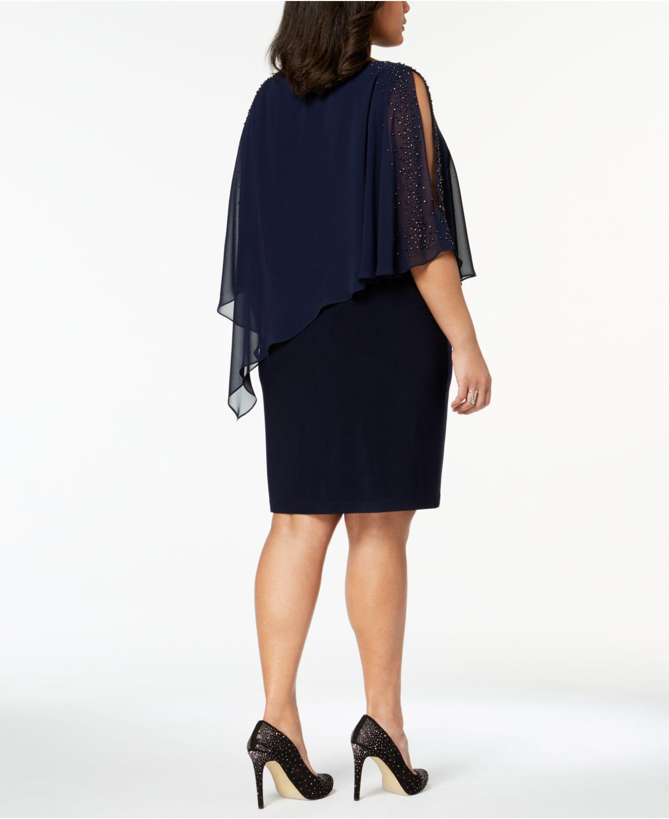 2076a588626 Lyst - Xscape Plus Size Beaded Chiffon Popover Dress in Blue