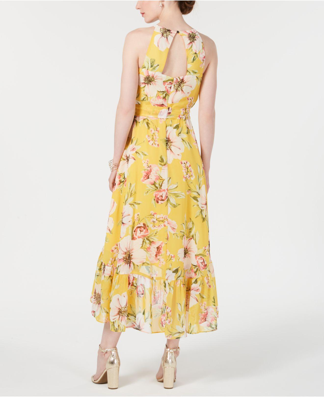 1cabd0c9d3 Lyst - Vince Camuto High-low Floral Flounce Maxi Dress in Yellow