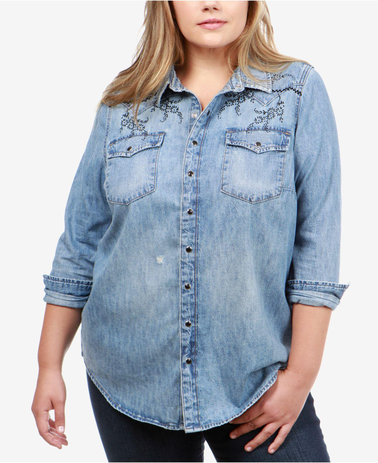 5792391e0aaec Lyst - Lucky Brand Trendy Plus Size Cotton Western Shirt in Blue