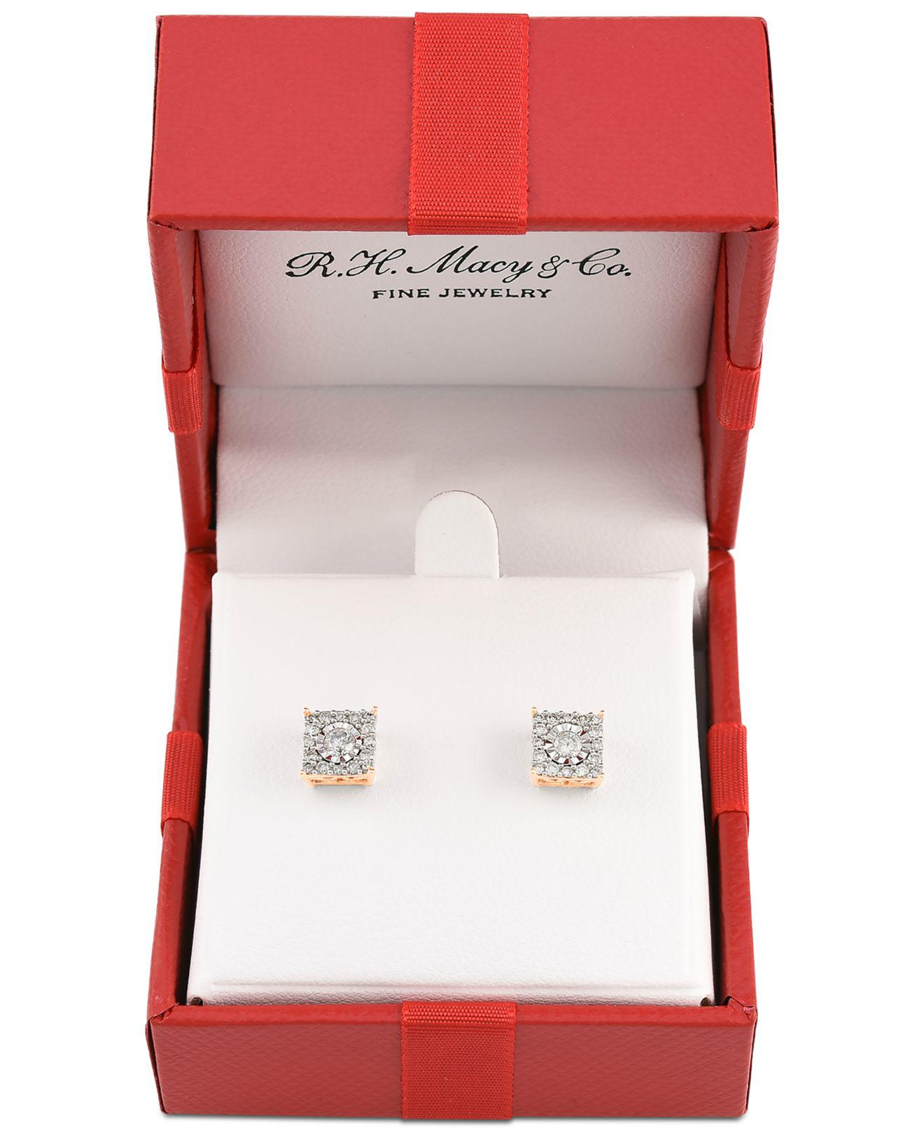faea8950d Lyst - Macy's Diamond Cluster Stud Earrings (1/3 Ct. T.w.) In 14k White  Gold, Yellow Gold And Rose Gold in Metallic