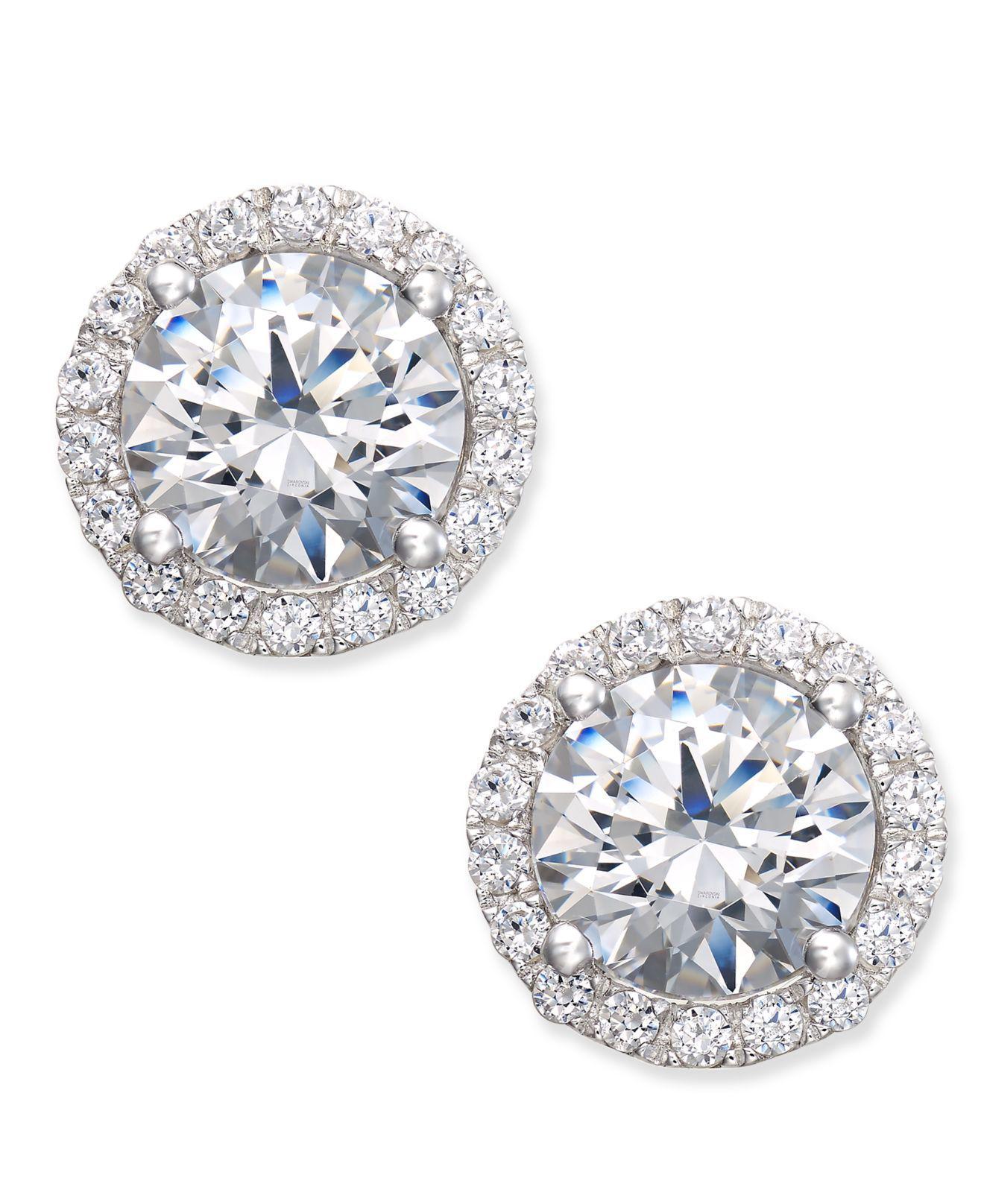 eba208eab Lyst - Arabella Swarovski Zirconia Halo Stud Earrings In Sterling ...