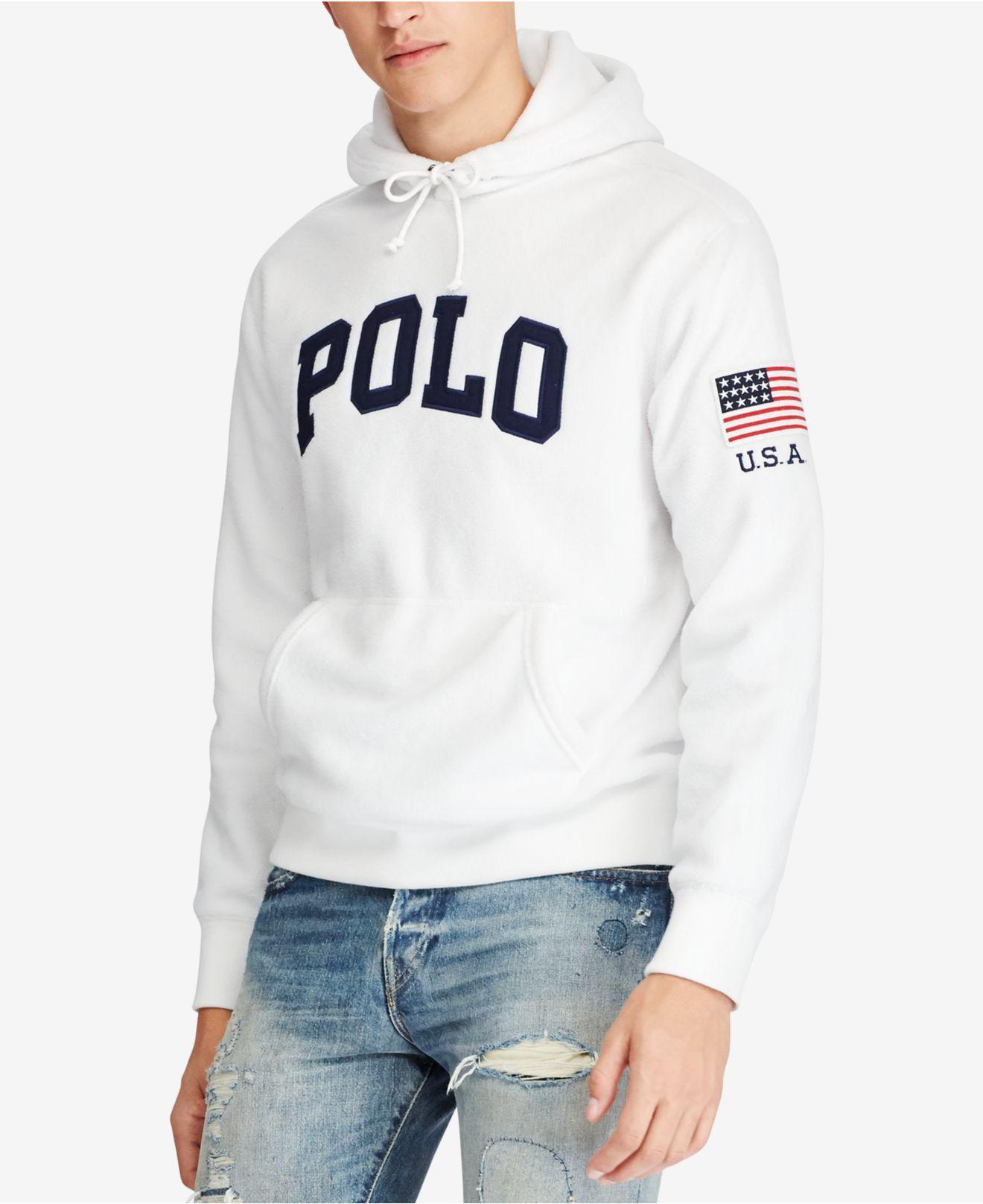 6a9dc058 Polo Ralph Lauren Men's Graphic-print Fleece Hoodie in White for Men ...