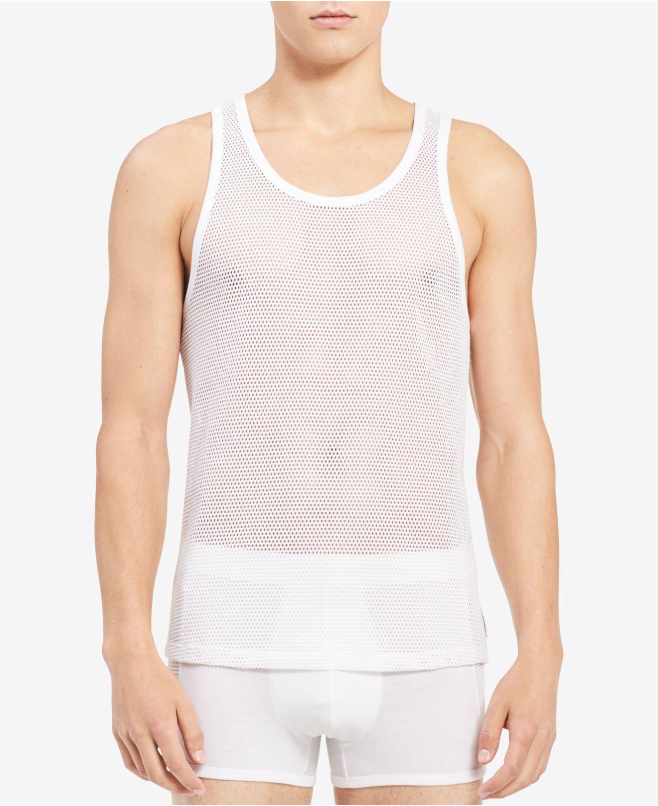 5d449078e6799 Lyst - Calvin Klein Mesh Tank Top in White for Men