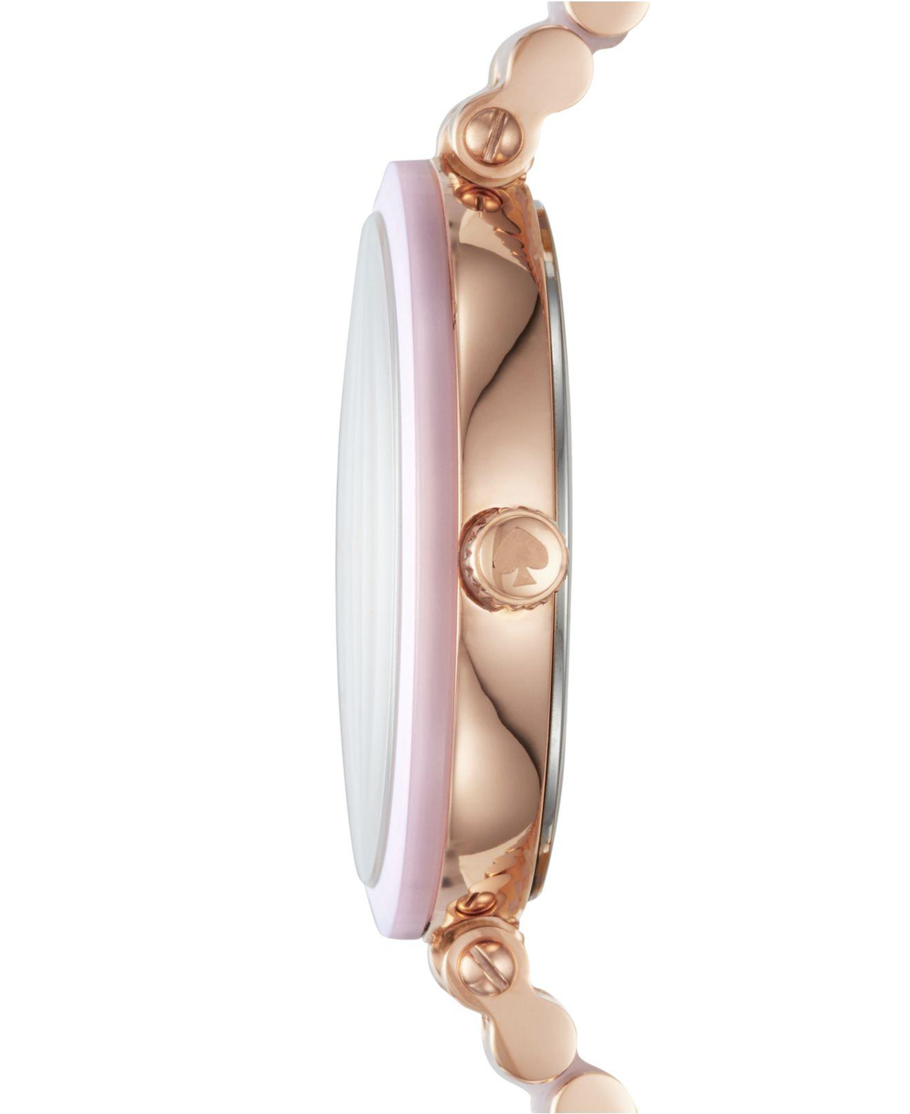 a2970d4c4bd Lyst - Kate Spade Women s Holland Rose Gold-tone Stainless Steel And Blush  Pink Acetate Bracelet Watch 34mm Ksw1263 in Pink