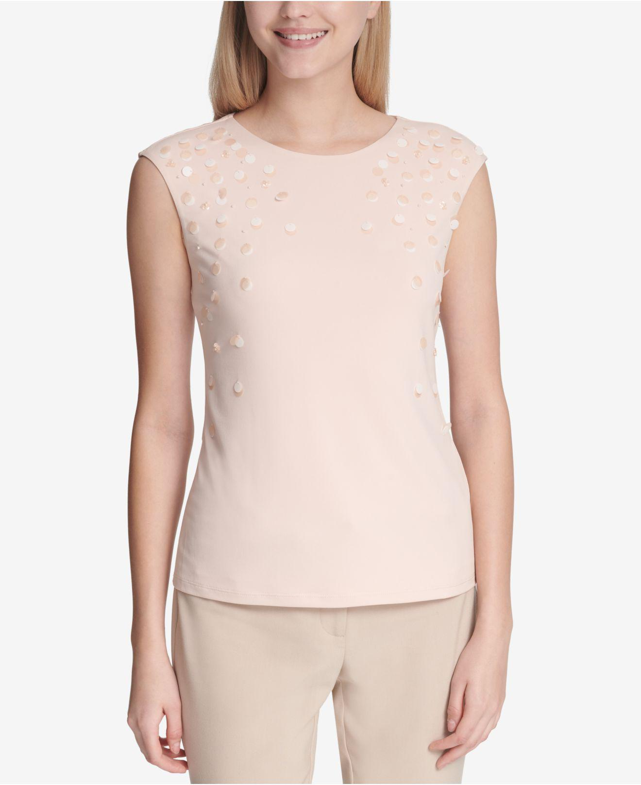 8ec347bfd642c Lyst - Calvin Klein Embellished Crew-neck Top in Pink