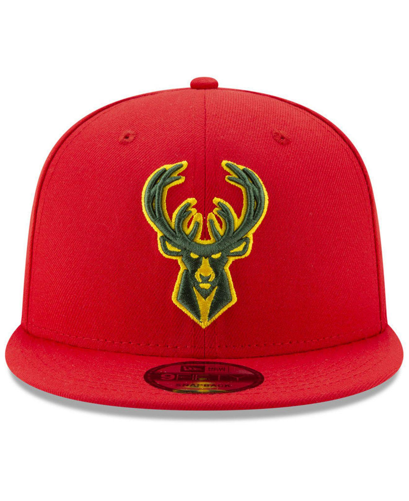 more photos 9aa4d bf796 KTZ Milwaukee Bucks City Pop Series 9fifty Snapback Cap in Red for ...