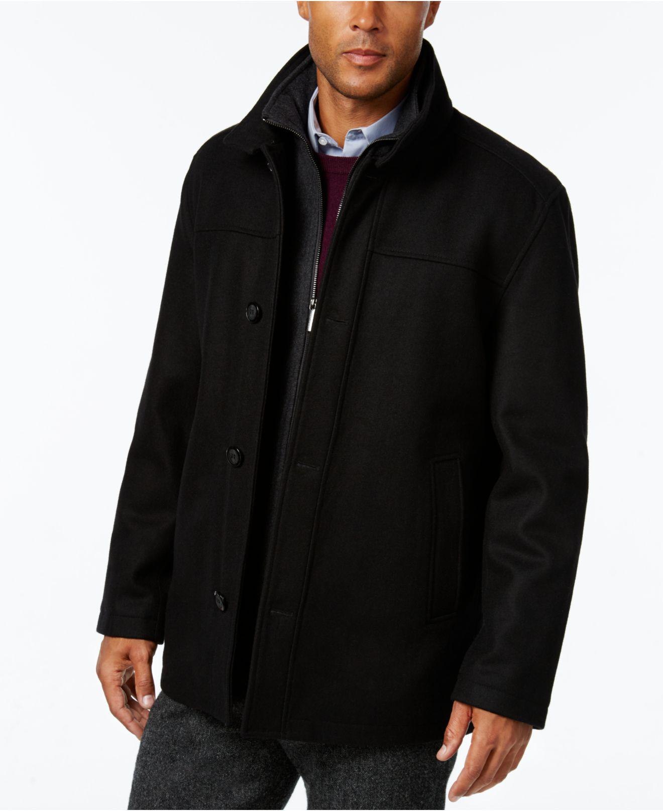 London fog Men's Wool-blend Layered Car Coat in Black for Men | Lyst