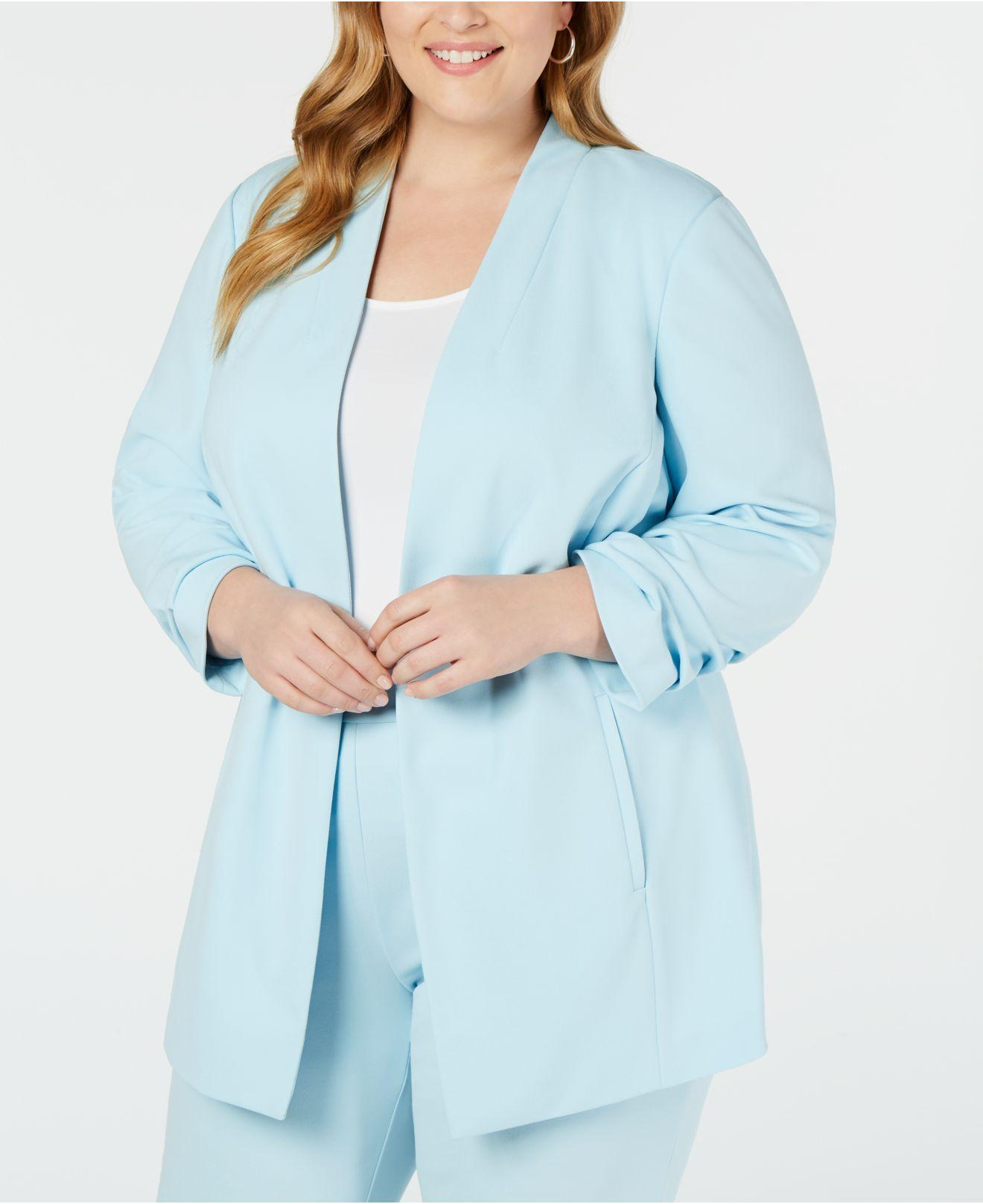 70333e4db07f5f Lyst - Alfani Plus Size Ruched-sleeve Jacket, Created For Macy's in Blue