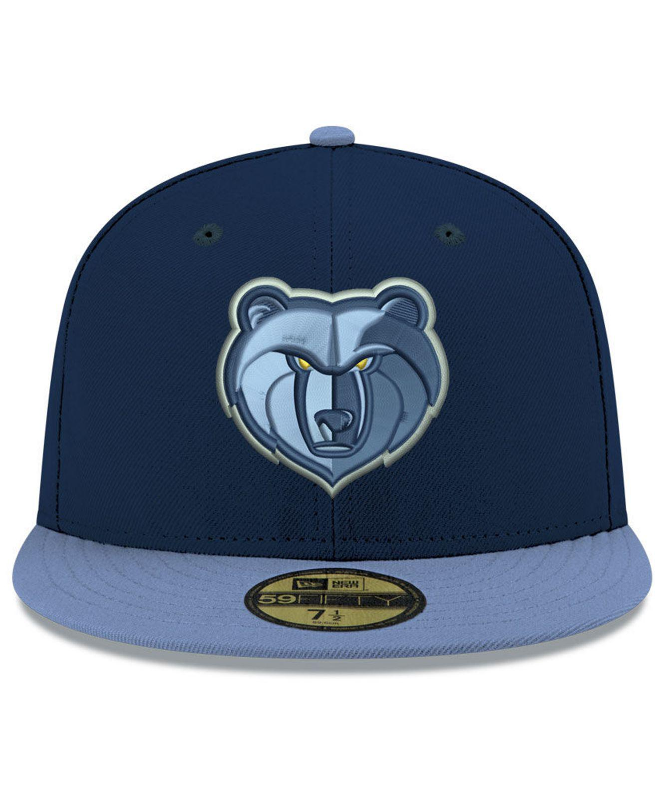 online store c5bf9 6dc0c ... spain lyst ktz memphis grizzlies basic 2 tone 59fifty fitted cap in  blue for men 79276
