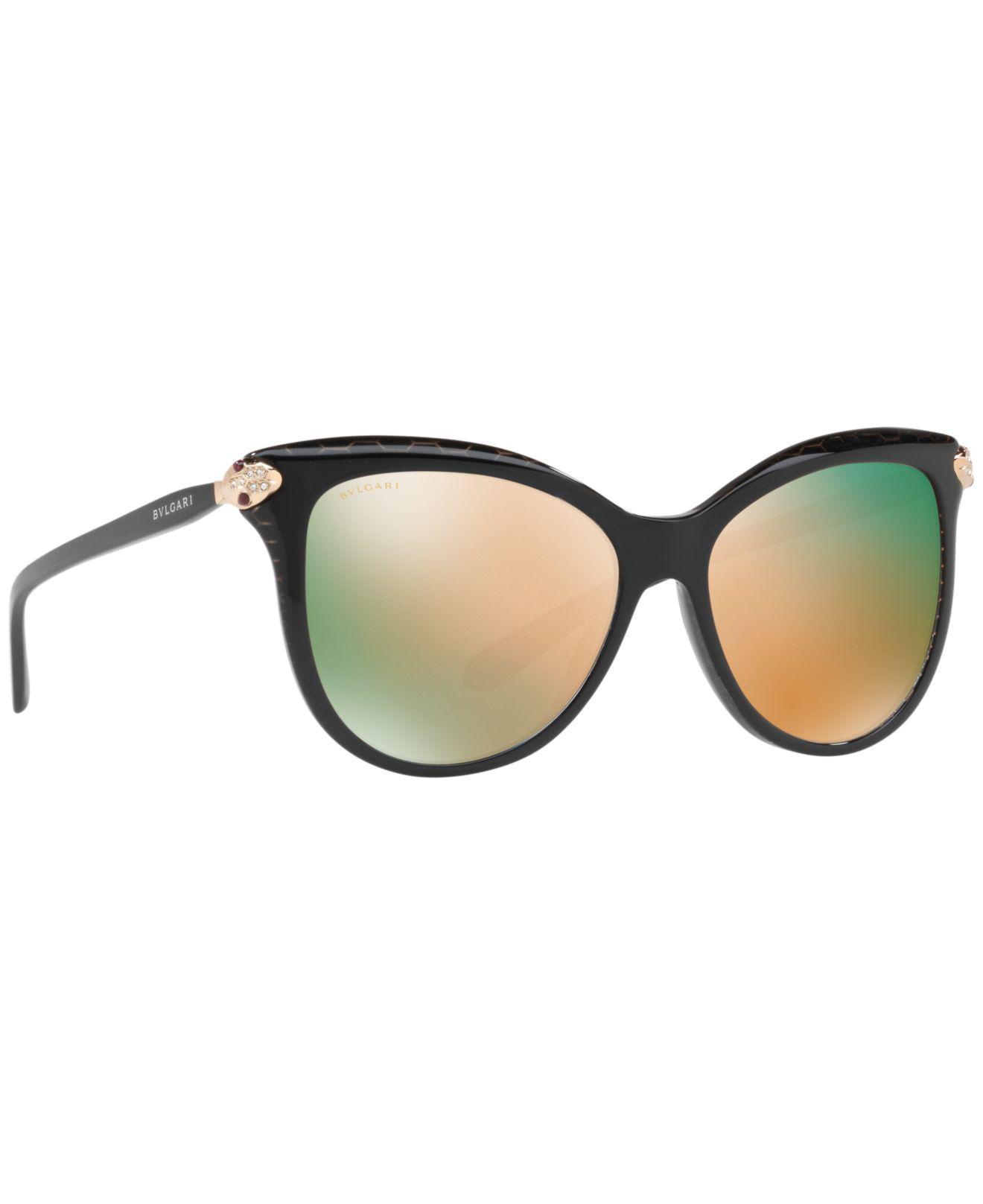 da58ecb4a8a84 Lyst - BVLGARI Serpenti Mirrored Iridescent Square Sunglasses in Black