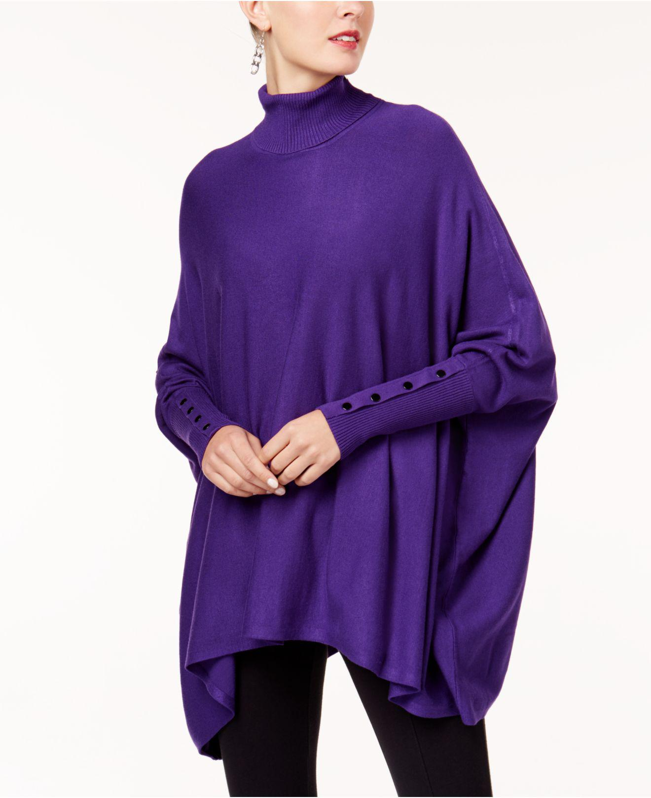 Alfani Turtleneck Poncho Sweater in Purple | Lyst