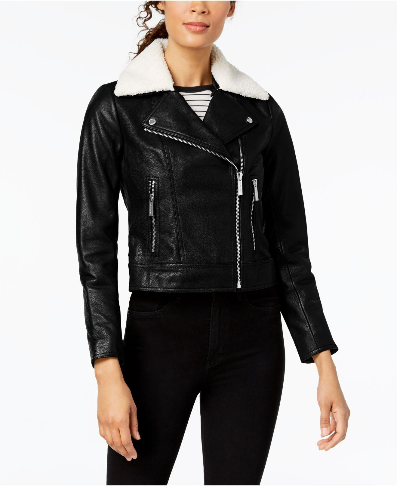 1ef95afcafb1 Michael Kors. Women s Black Michael Faux-shearling-collar Leather Moto  Jacket