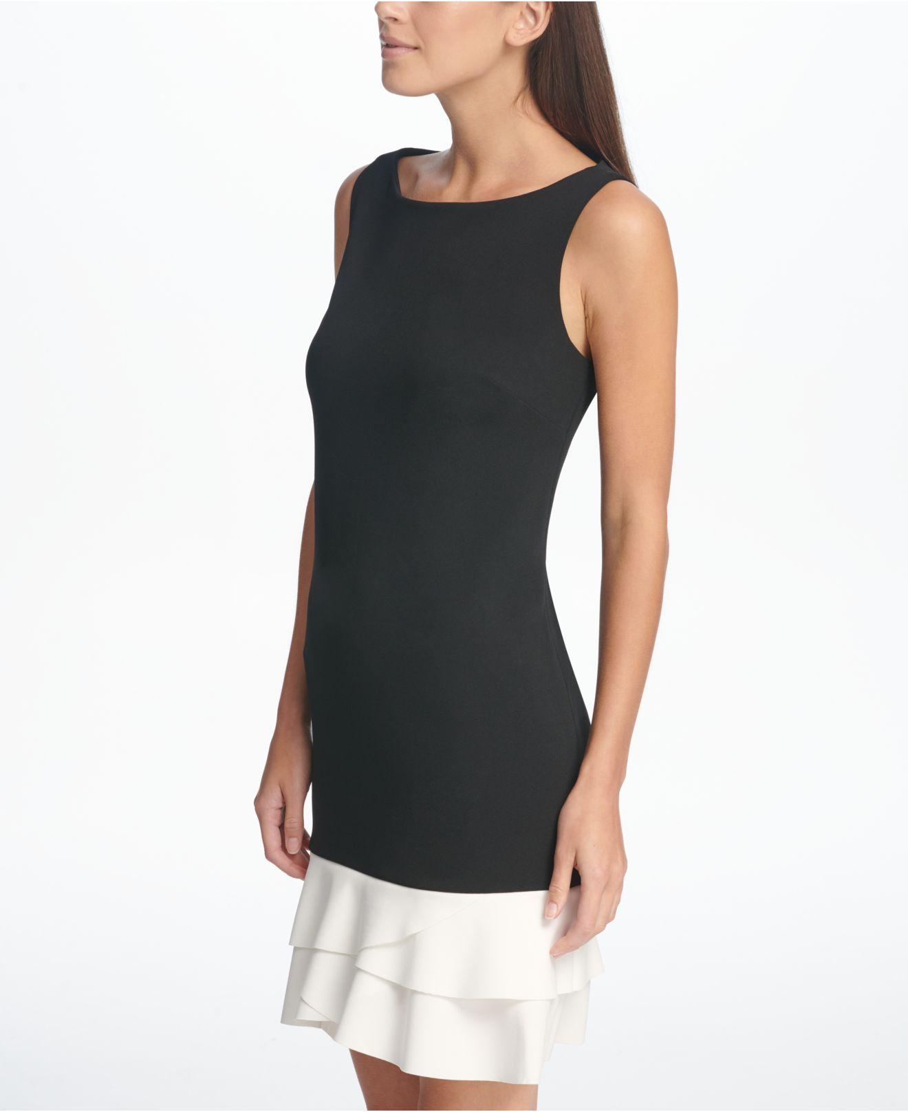 16906510 Lyst - DKNY Tulip Flounce Hem Sheath Dress in Black