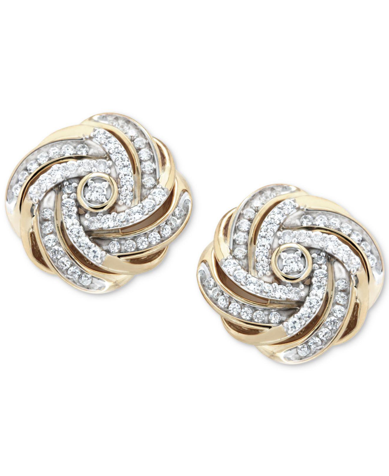 953f9e6c71e Lyst - Macy s Diamond Love Knot Stud Earrings (1 2 Ct. T.w.) In 14k ...