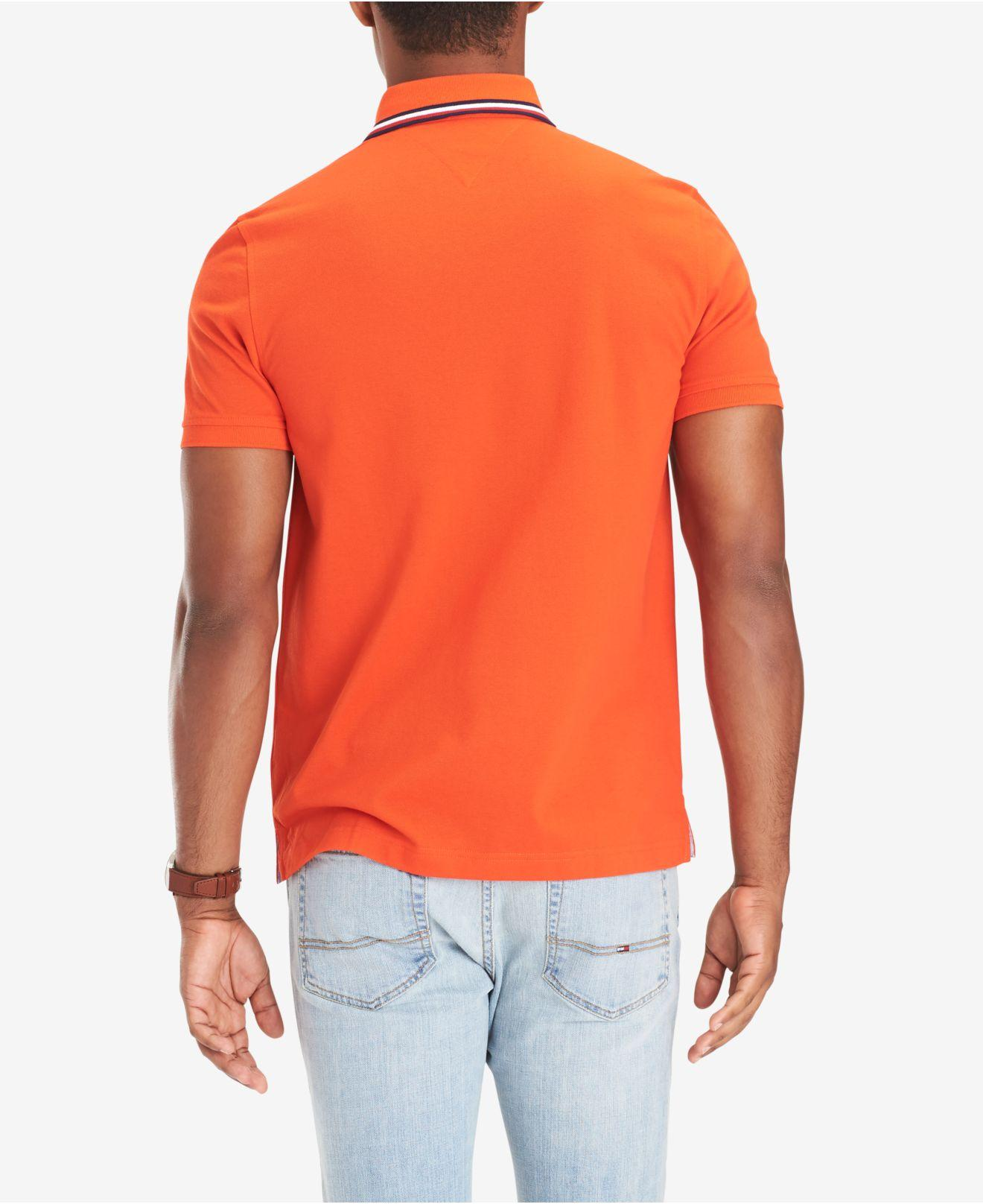 3ecda31de Lyst - Tommy Hilfiger Lance Custom-fit Logo Polo in Orange for Men