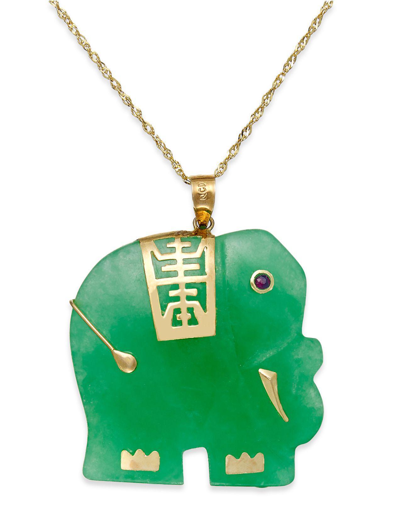 Lyst macys dyed jade elephant pendant necklace in 14k gold 25mm macys womens green dyed jade elephant pendant necklace in 14k gold aloadofball Images