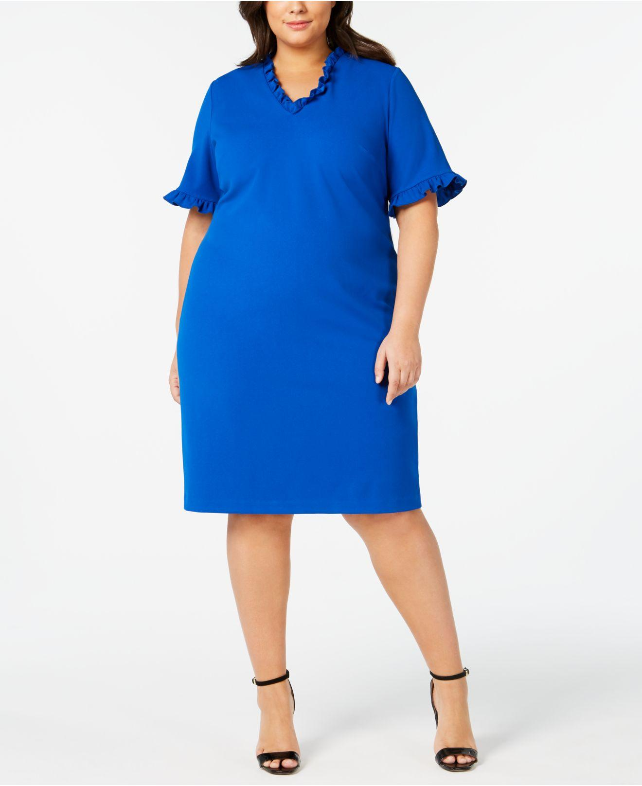c5dccc59b50 Lyst - Calvin Klein Plus Size Ruffled Sheath Dress in Blue