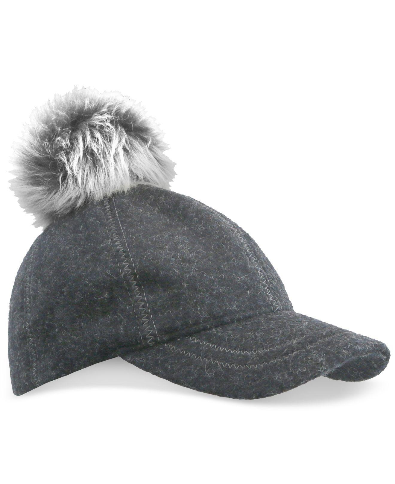 64f41c3c906 Lyst - UGG Fur Pom Pom Baseball Hat in Black