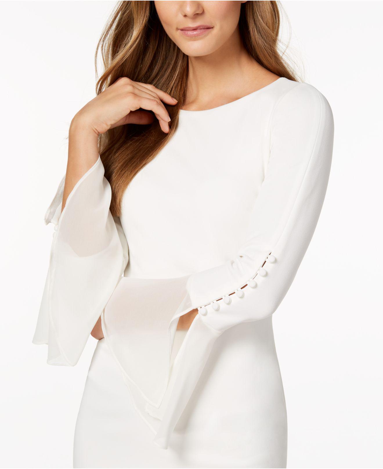 7eac43a6 Calvin Klein Chiffon-bell-sleeve Sheath Dress in White - Lyst