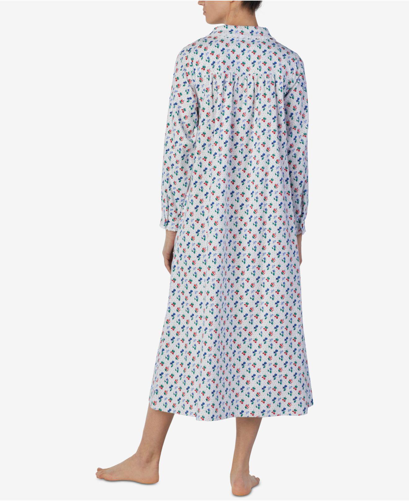 34cb9b161a Lyst - Lanz Of Salzburg Printed Cotton Flannel Nightgown in Blue