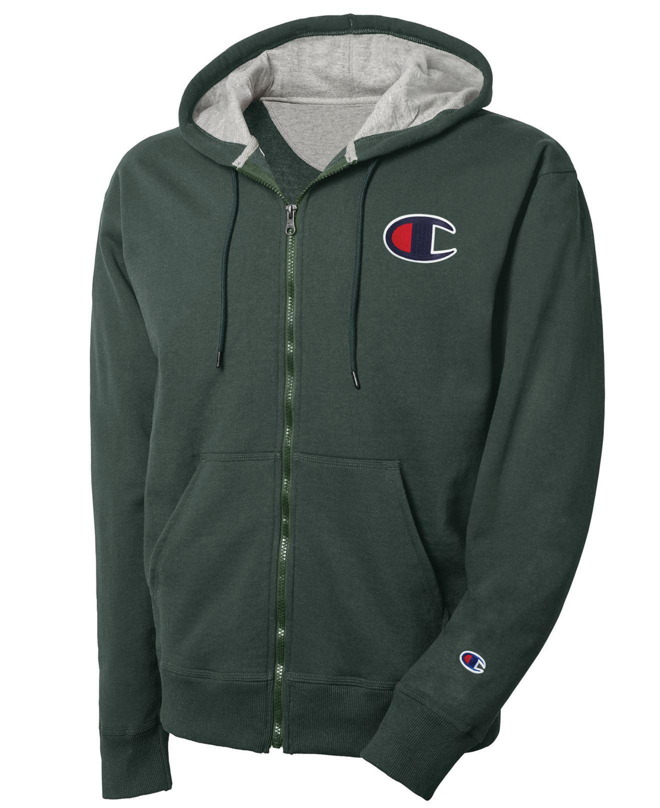 e8366eb5352e Lyst - Champion Logo Zip Hoodie in Green for Men