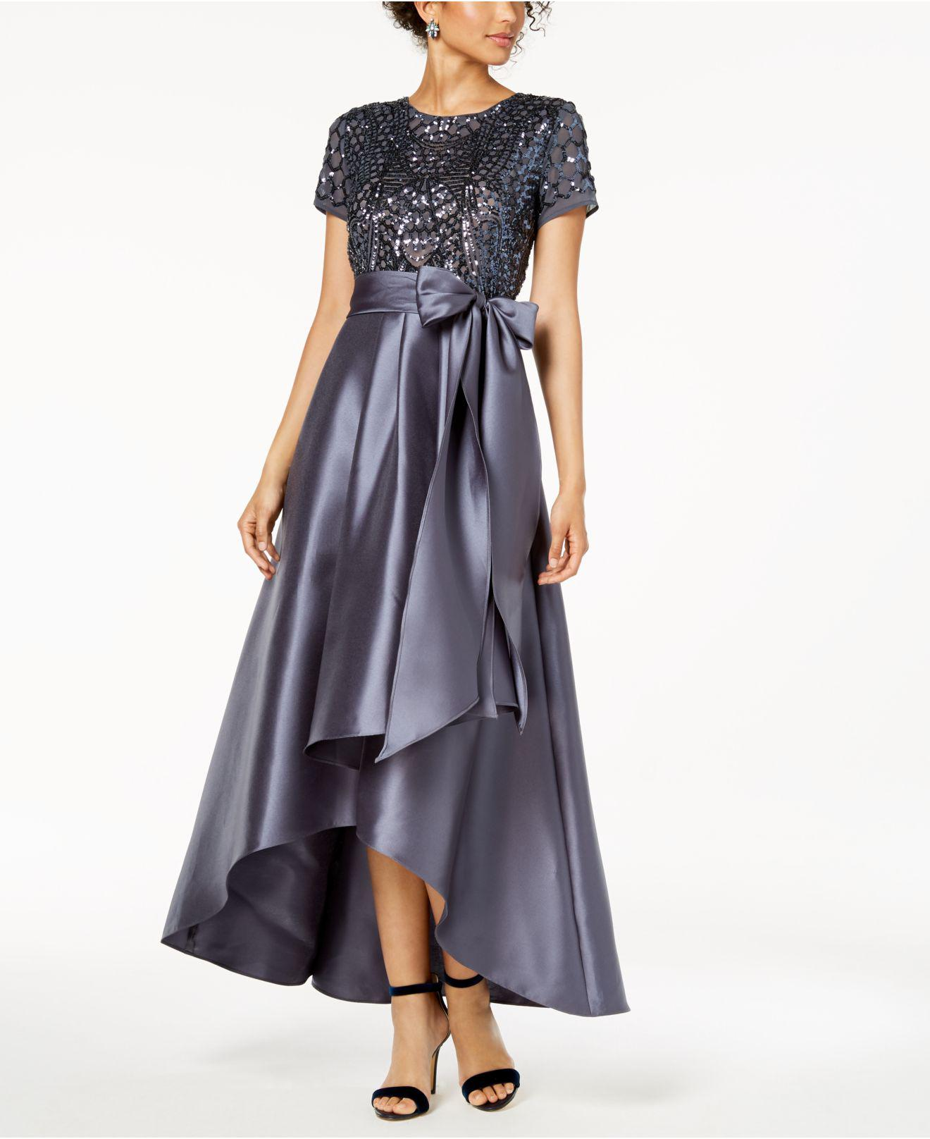 f1acaebbc30 Lyst - R   M Richards High-low Sequin-embellished Gown in Gray