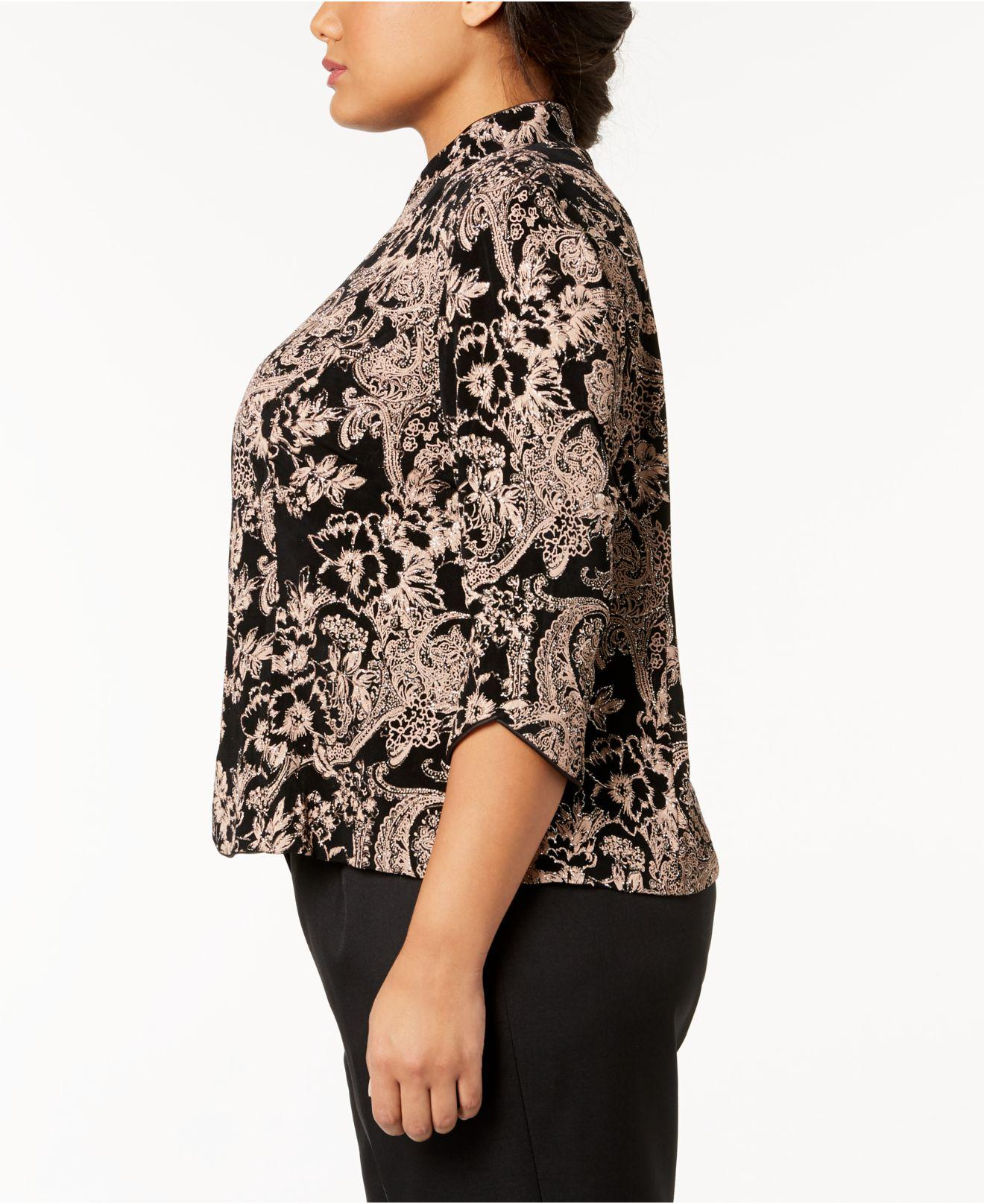 7bc1471c Lyst - Alex Evenings Plus Size Glitter Paisley-print Jacket & Top in ...