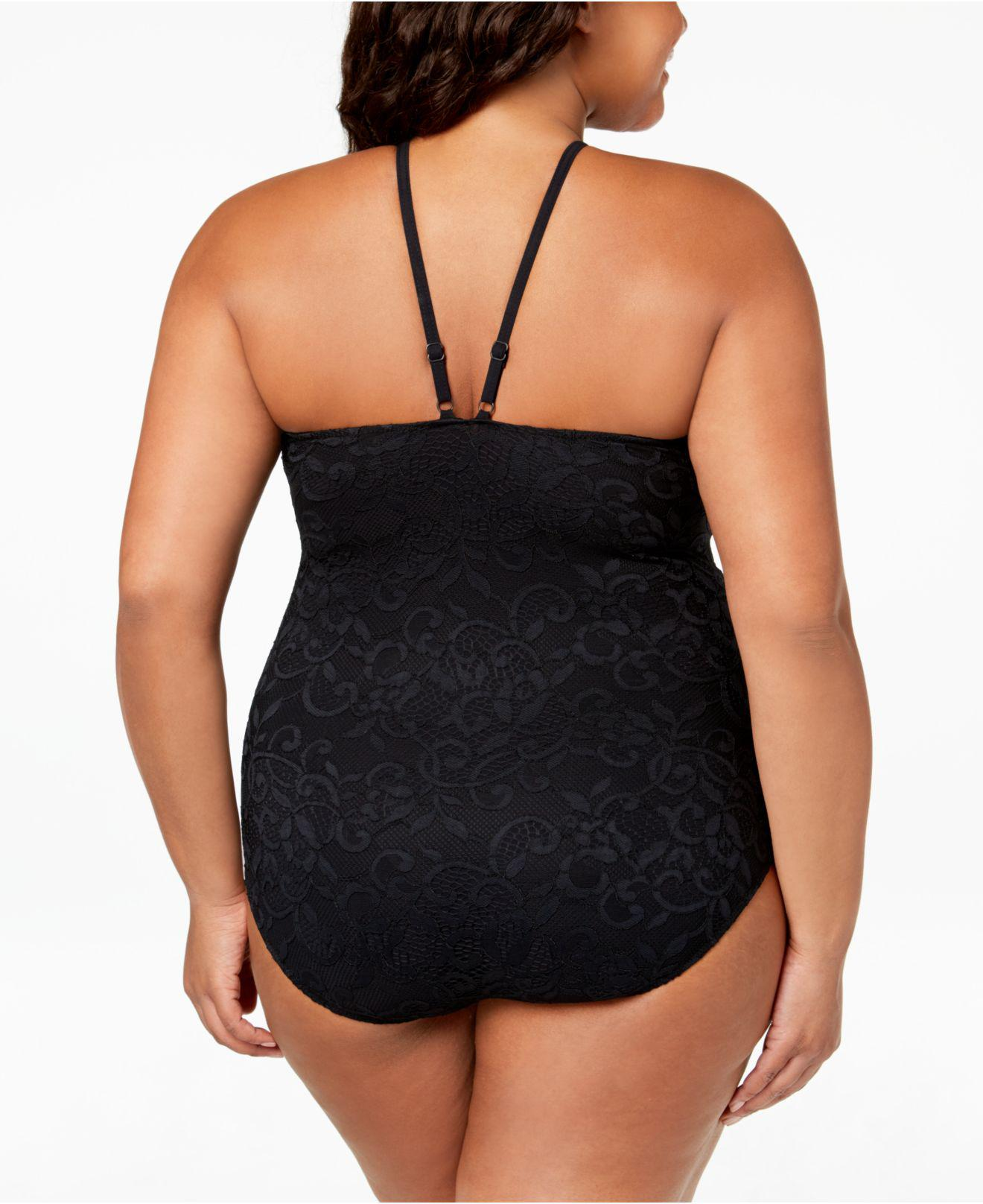 799ea1a535c8b Lyst - Gottex Profile By Gotex Plus Shamilar High-neck One Piece Swimsuit  in Black