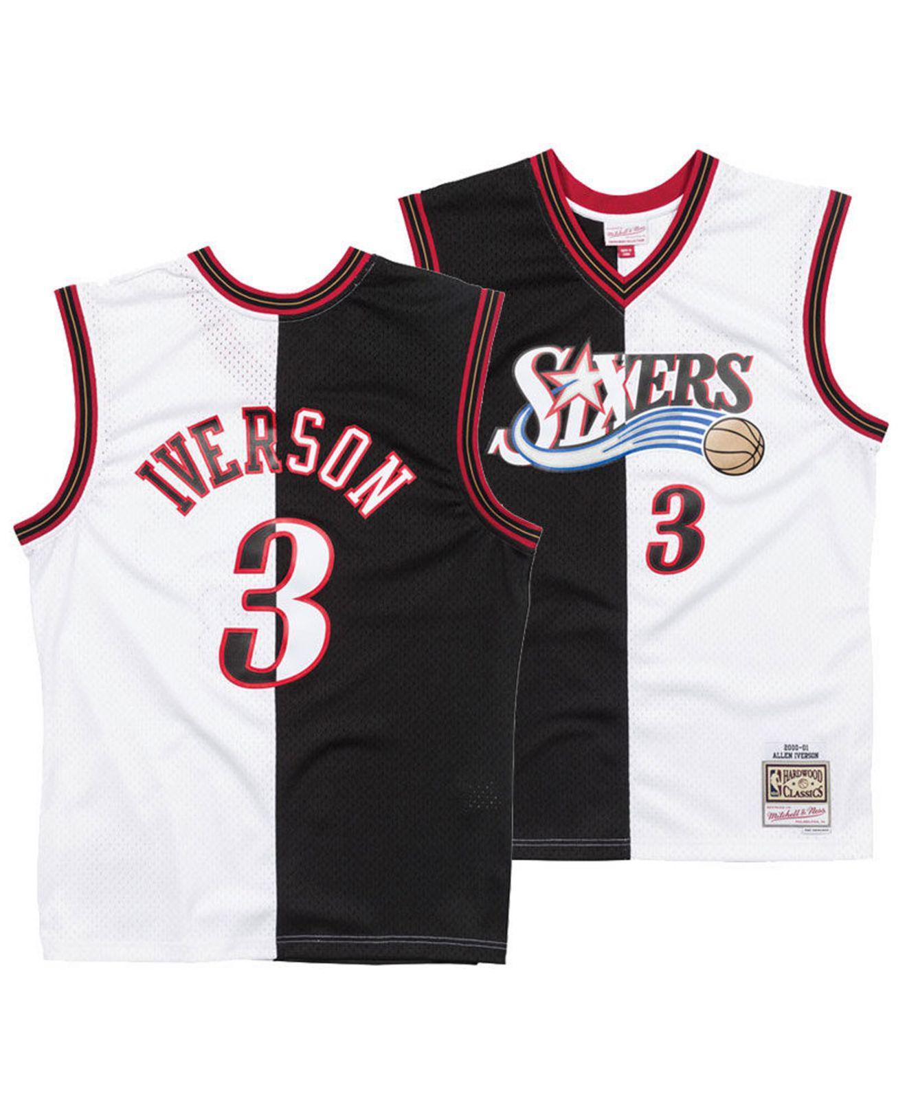 bb2be0113 Mitchell   Ness. Men s Black Allen Iverson Philadelphia 76ers Split Swingman  Jersey