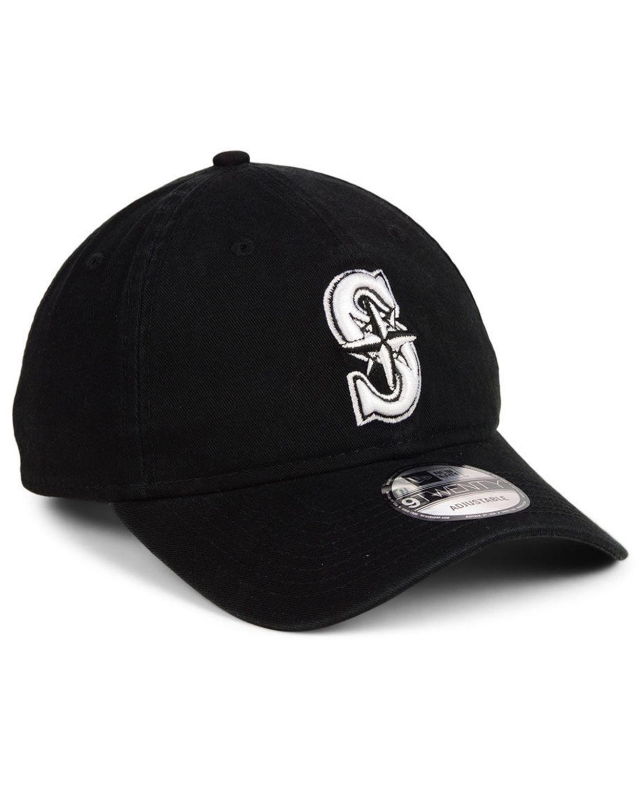 premium selection 24cae c72cb KTZ - Black Seattle Mariners Core 9twenty Strapback Cap for Men - Lyst.  View fullscreen