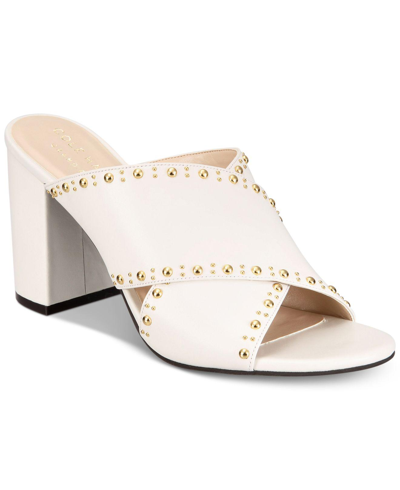 c0e199eb229 Lyst - Cole Haan Women s Gabby Stud Sandals in White