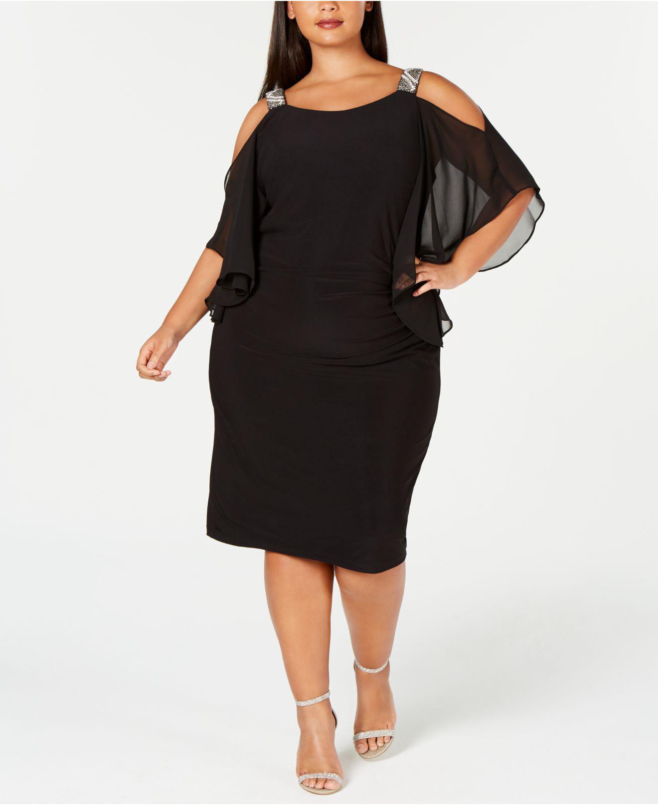 e985c266a69 Xscape - Black Plus Size Rhinestone Cold-shoulder Sheath Dress - Lyst. View  fullscreen