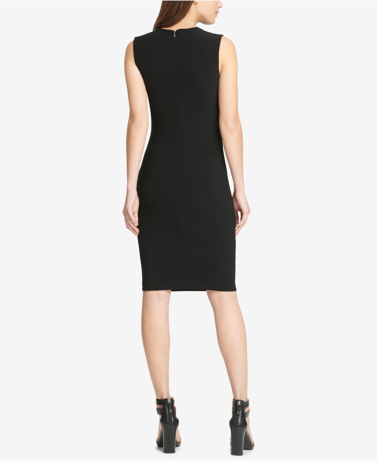 5231ce20 Lyst - DKNY Faux-leather-trim Sleeveless Sheath Dress, Created For Macy's  in Black