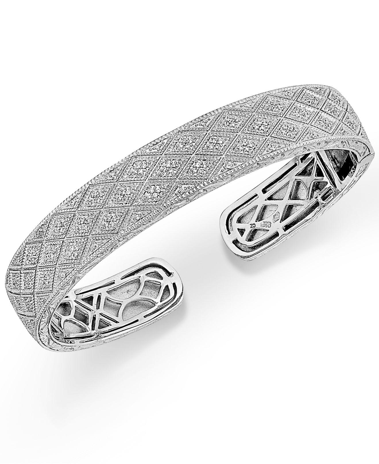 bracelets kaystore bangles kay sterling diamond mv silver zm bangle bracelet ct round tw en cut
