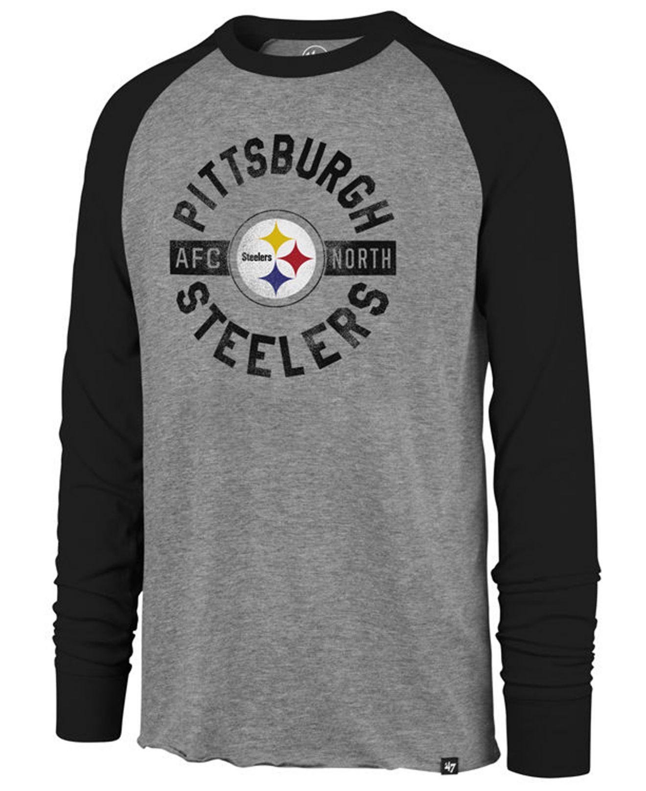 47 Brand. Men s Gray Pittsburgh Steelers Retro Encircled Long Sleeve Club Raglan  T-shirt b4fec48fc