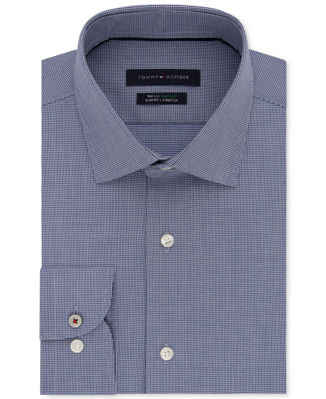 8ac0a5831 Tommy Hilfiger - Blue Slim-fit Non-iron Performance Stretch Check Dress  Shirt for. View fullscreen