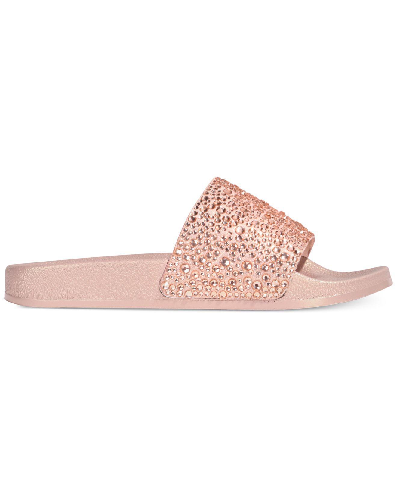 506b1fcb0d07f7 Lyst - INC International Concepts Women s Peymin Flat Slide Sandals in Pink  - Save 20%