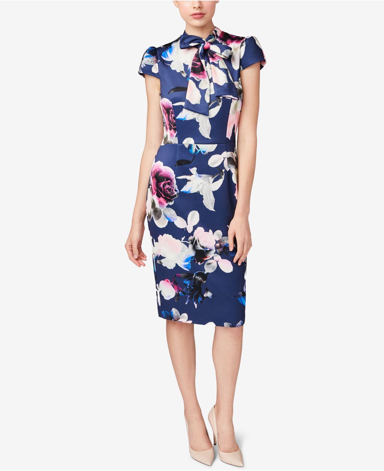95732932b1dfb4 Betsey Johnson Tie-neck Sheath Dress in Blue - Lyst